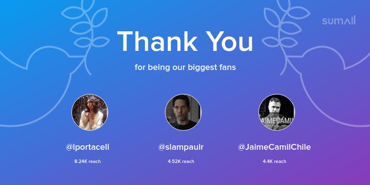 Our biggest fans this week: lportaceli, slampaulr, JaimeCamilChile. Thank you! via https://sumall.com/thankyou?utm_source=twitter&utm_medium=publishing&utm_campaign=thank_you_tweet&utm_content=text_and_media&utm_term=51313e152796950a20a58742…