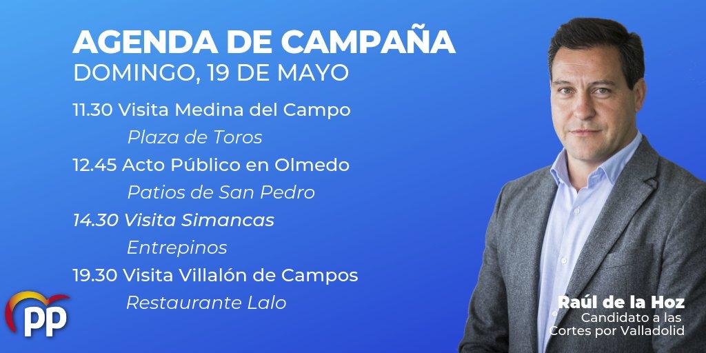 ¡Buenos días y feliz domingo! Hoy estaremos en Medina del Campo, Olmedo, Simancas y Villalón de Campos. Espero que en algún momento de la jornada nos veamos y podamos intercambiar ideas acerca de nuestro Programa de Gobierno #CentradosEnCyL