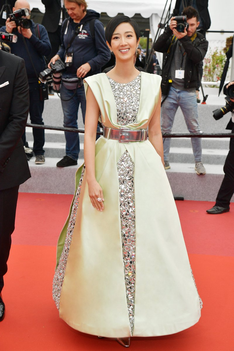 "Gwei Lun Mei wore a #CHANEL Spring 2017 Haute Couture green & silver embroidered gown + #ChanelFineJewelry to the 2019 Cannes Film Festival premiere of ""The Wild Goose Lake"". #Cannes2019 #TheWildGooseLake"