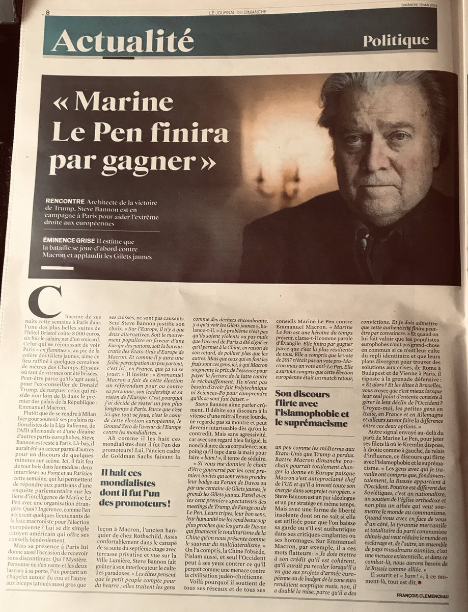 From his 8000€ the night Hotel Bristol in Paris, Steve Bannon shows his crass ignorance of the EU and his dangerous liaison with the LePen gang. In @leJDD today.