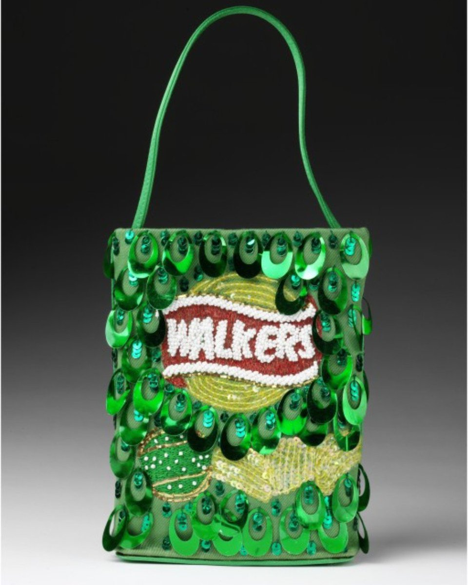 Fancy a bag of crisps? Anya Hindmarch turns the idea of the designer label handbag upside down with her branded bags using familiar brand names such as Daz, Maltesers, Dairy Milk and Walkers Crisps as the inspiration for her sequinned bags. Yummy.