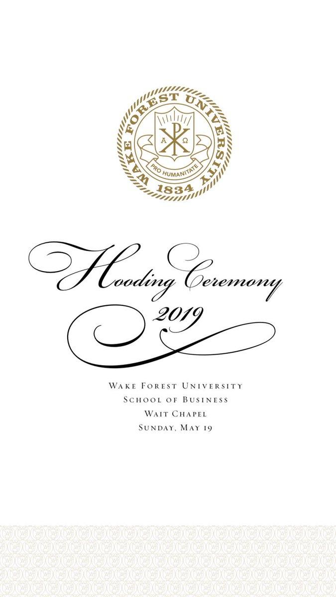 .@WakeForestBiz Hooding Ceremony, today at 11 am in Wait Chapel  📖 PDF of Program: https://t.co/dTdvNGyKtL  📽 Livestream: https://t.co/0Eg2UlYAjv  #WFUGRAD