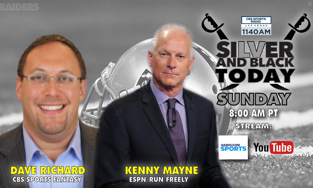 TOP OF THE HOUR: Join @SilverBlack2Day as they welcome former #UNLVFB QB @Kenny_Mayne who will talk about his work with http://RunFreely.org. Also: What #Raiders rookies may have big year in #FantasyFOotball? @CBSFantasy's @daverichard will give you the edge you need! 8am PT!