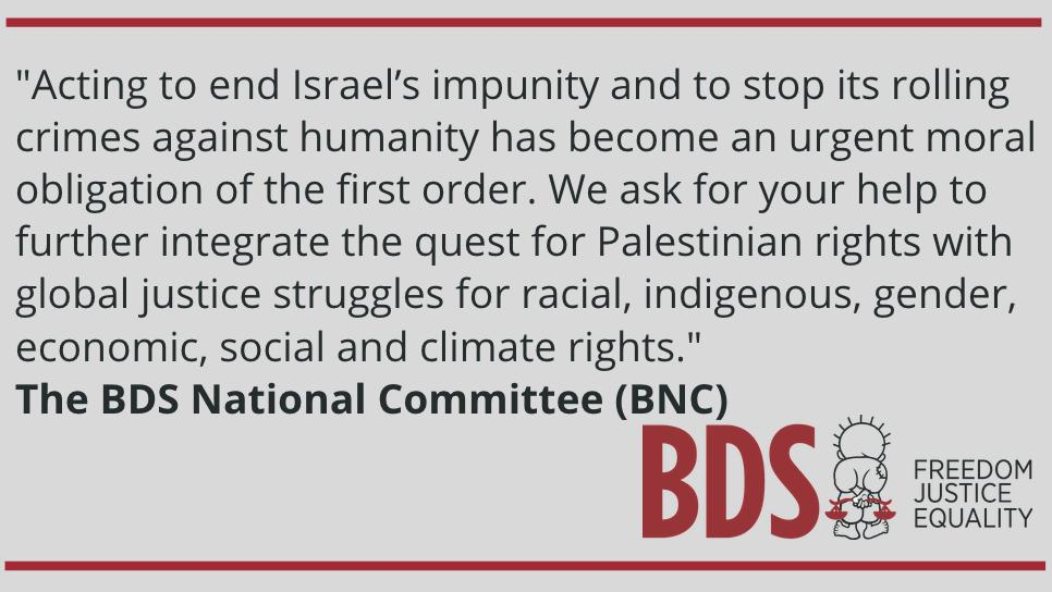 "Commemorating #Nakba71, the Palestinian BDS National Committee (BNC) said: ""We can end the ongoing Nakba with hope, resistance and meaningful solidarity."" Our full statement on Nakba Day: bit.ly/2WKiMxq"