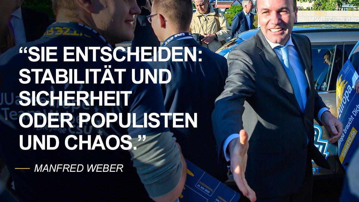 Die Europawahl am 26. Mai ist eine Richtungswahl. Die Wählerinnen und Wähler haben es in der Hand: Stabilität oder Populisten, Sicherheit oder Chaos. #UnserEuropa #Europawahl2019