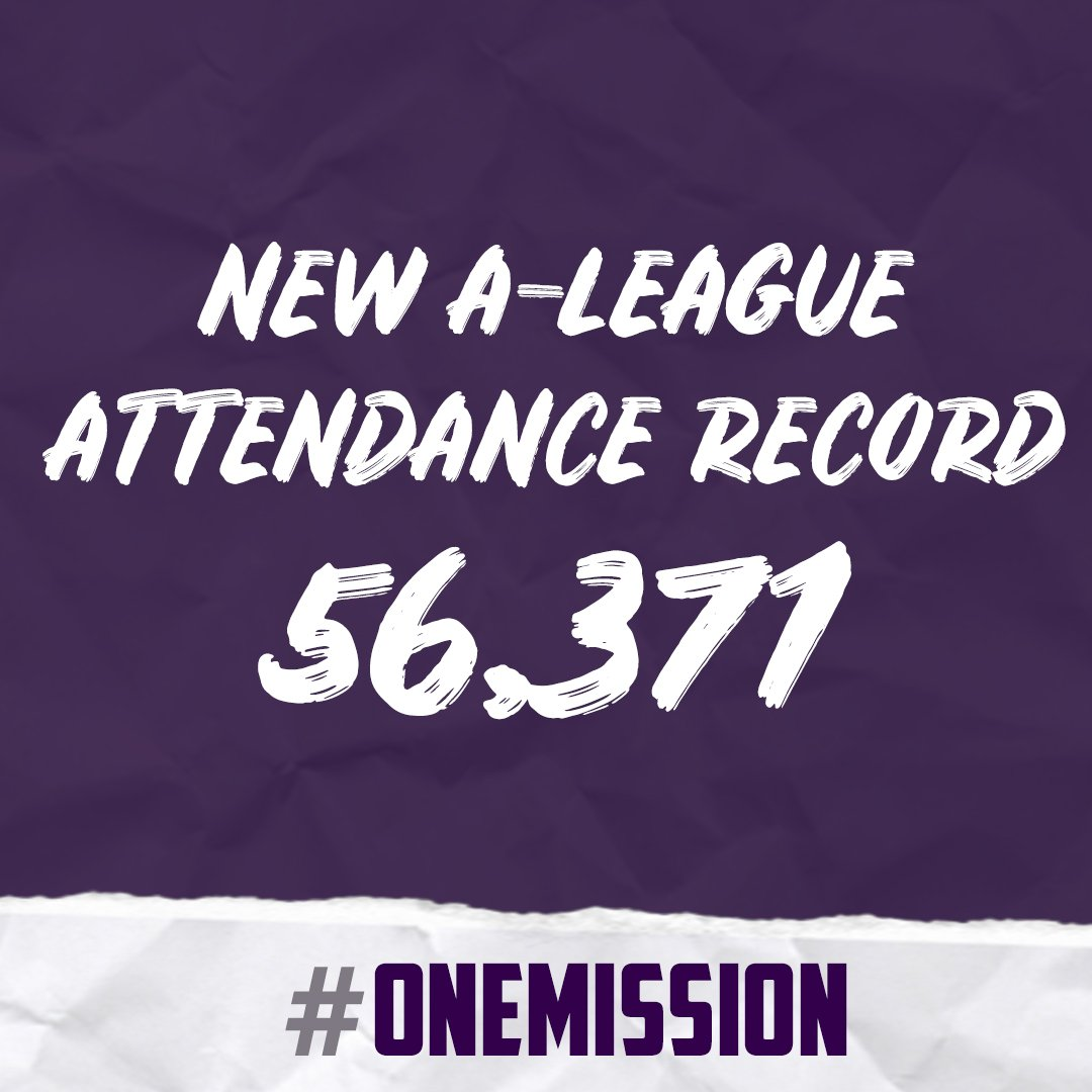 Tonight's #ALeagueGF is a new club record in all competitions and a record Grand Final attendance for the @ALeague in its 14 year history!  (0-0) #ALeagueGF #FeelTheFinals #OneMission #OneGlory