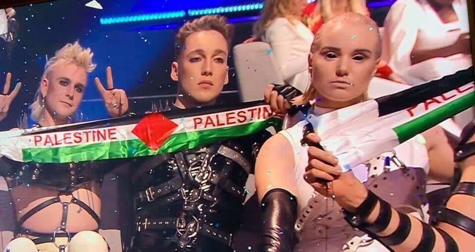 Iceland's Hatari used #Eurovision to show solidarity with Palestinians🇵🇸 while the voting results were announced... Can this be considered meaningful when their participation helped the Israeli government profit off of the event?
