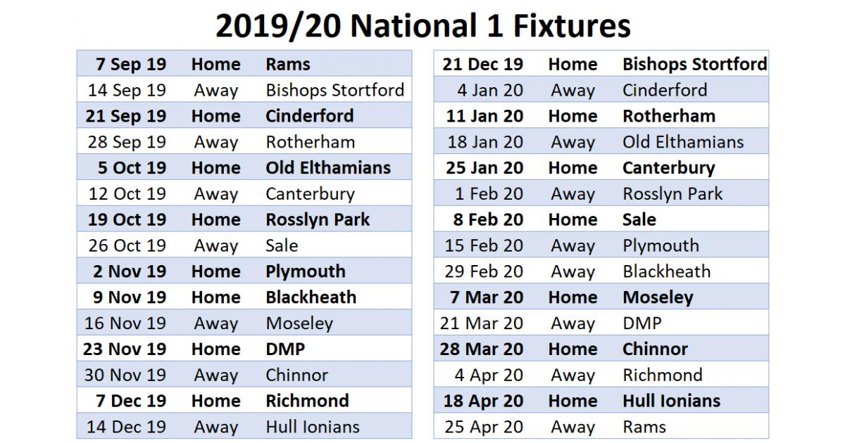National 1 Fixtures Available We start our 19/20 season at home welcoming newly promoted @Rams_RFC on 7 Sep. crufc.co.uk/news/national-…