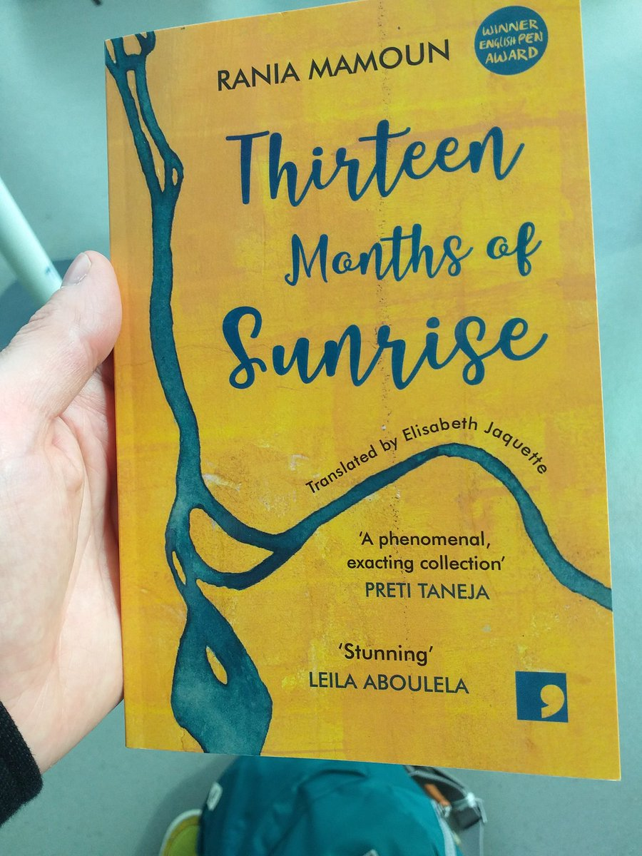 You cant spell Ryanair without Rania, so one flight later Ive finished the beautiful, tender and compassionate Thirteen Months of Sunrise by Rania Mamoun, tr Elisabeth Jaquette, pub @commapress A superb collection. Id love it if her two novels got translated from Arabic too.