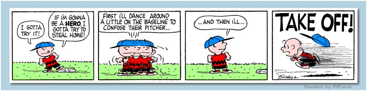 """I gotta try it! If I'm gonna be a hero, I gotta try to steal home! First I'll dance around a little on the baseline to confuse their pitcher…and then I'll…TAKE OFF!"" ~ Charlie Brown (Classic Peanuts - May 19, 1960) #MLB #Baseball"
