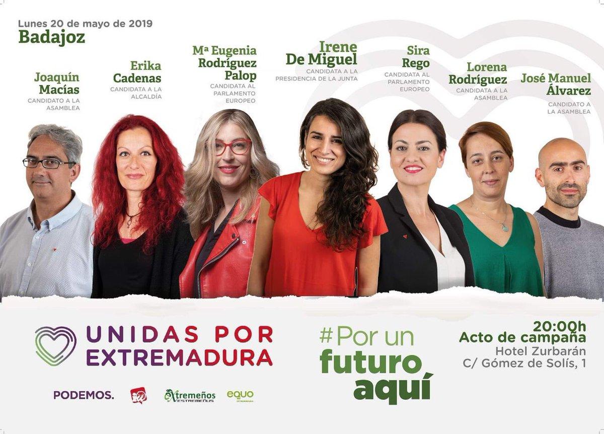 Mañana en 📍 Badajoz estaré acompañada de grandes mujeres como María Eugenia Palop 🇪🇺, Sira Fernández 🇪🇺, la candidata al ayuntamiento Erika Cadenas y los candidatos a la asamblea José Manuel Álvarez, Joaquín Macías y Lorena Rodríguez. #PorUnFuturoAquí 💜💚❤️
