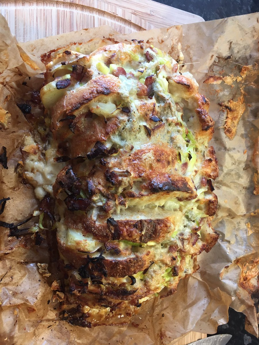 Image for Pain Surprise today. Sourdough, jersey royals, bacon, shallots, leeks, gruyere, gorgonzola. Flippin amazing https://t.co/A7qRLVIyio