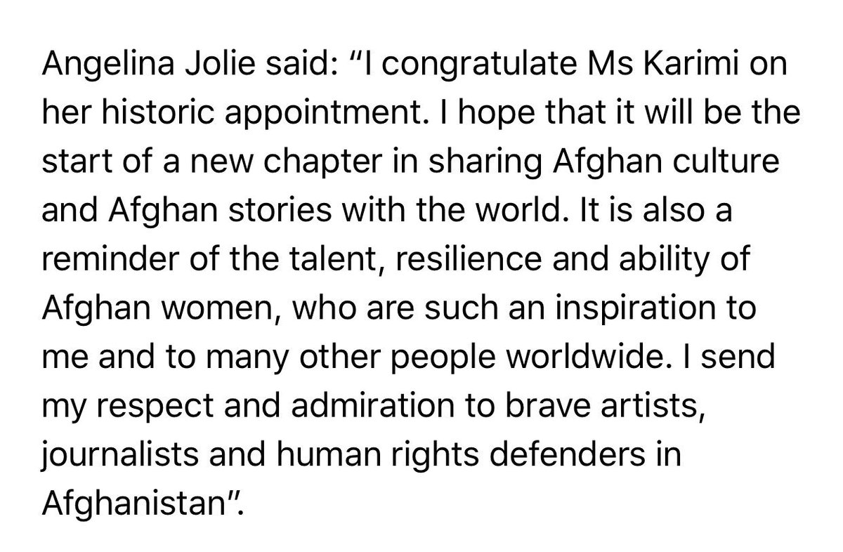 A beautiful congratulatory note from a friend to all #Afghan women, Angelina Jolie.   The power of sisterhood could repair, heal and motivate us all.   Cinema impact far greater than we imagine. True images to be captured and projected especially of #Afghanistan and its people.<br>http://pic.twitter.com/AiBVRpbZqY