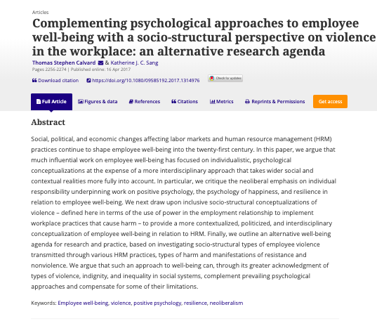 I used the paper @TomCalvard and I wrote critiquing the use of 'well-being' at work with my final year students who really took the ideas in it to heart. We need to move away from individualised ideas of well-being    https://www.tandfonline.com/doi/full/10.1080/09585192.2017.1314976?scroll=top&needAccess=true…