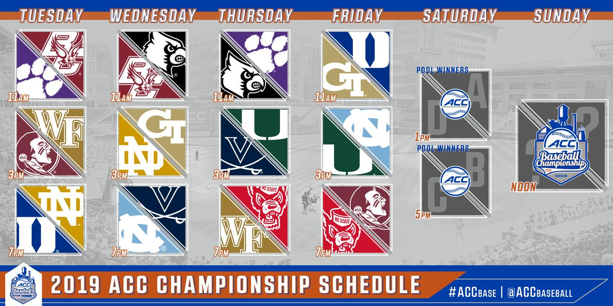 Pools set ✅ Game times set ✅  It's almost #ACCBASE Tournament time!!!  📰: http://theacc.co/19ACCbbch   🎟: http://theacc.co/base19tix