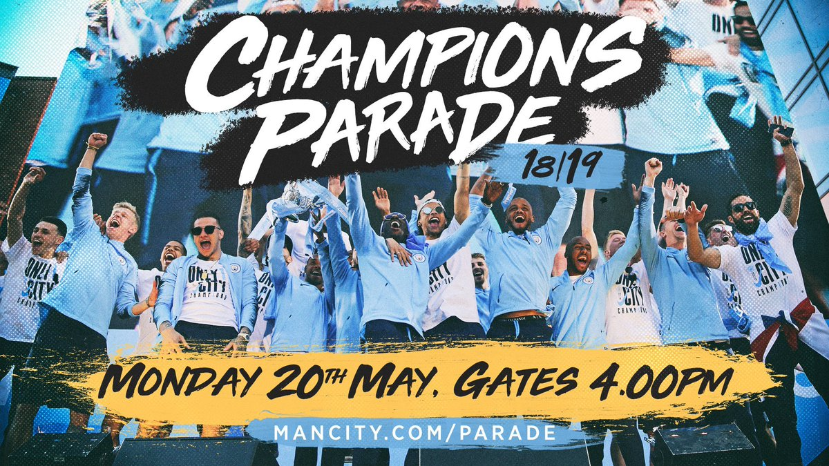 ONE MORE SLEEP! 🏆🚌  Here's the plan blues! 🚨  4PM: Gates open 5PM: Cathedral stage show starts 6PM: Parade begins 6.45PM: Parade finishes 7PM: Players on stage 7.30PM: Event ends  See you tomorrow! 😁  🔵 #mancity