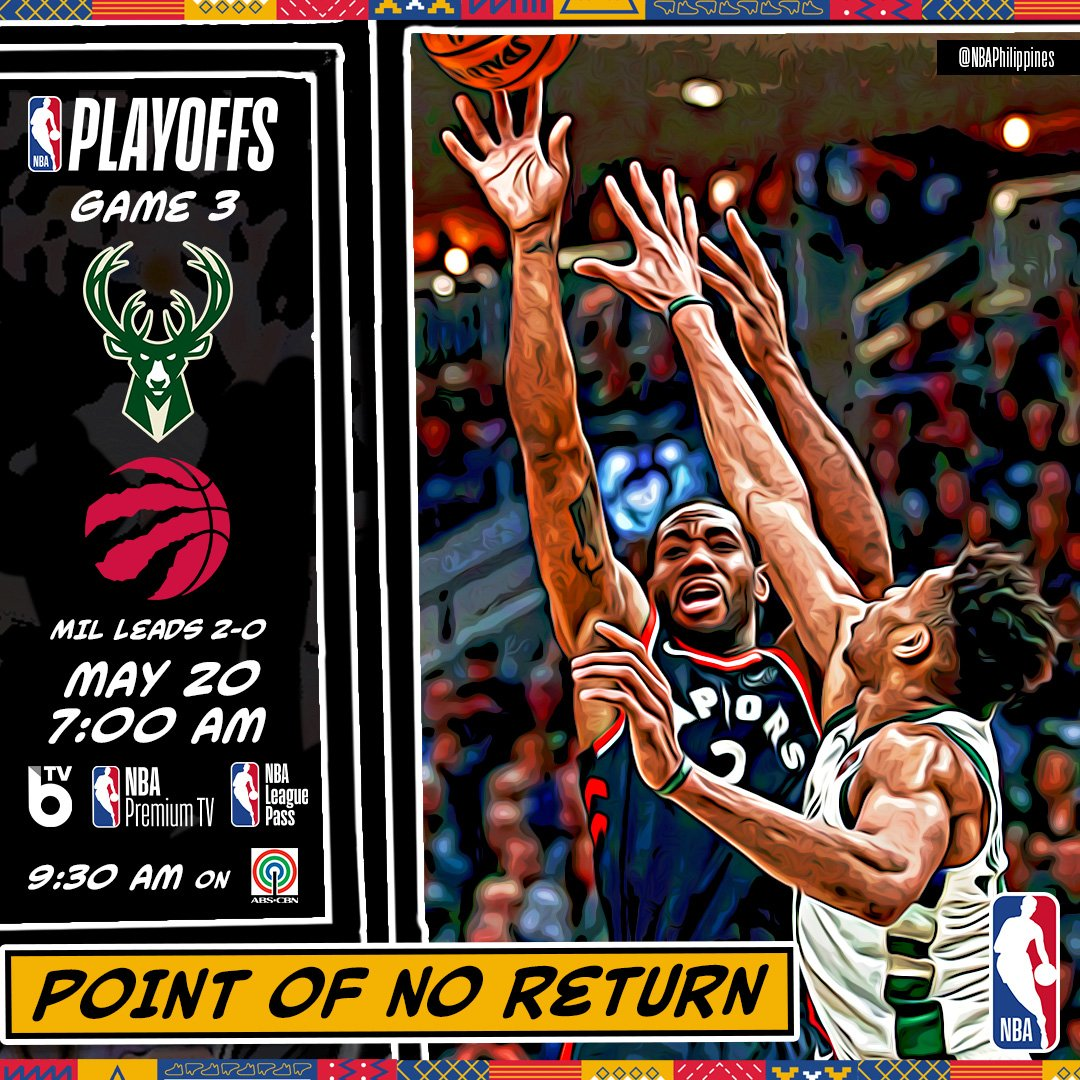 The series moves to Toronto! Can the @Raptors defend their home floor against the @Bucks and get the momentum going? 📺 Tune in to BTV, NBA Premium TV, NBA League Pass tomorrow at 7:00 AM and 9:30 AM on ABS-CBN for Game 3 of the ECF. #NBAPlayoffs #WeTheNorth #FearTheDeer