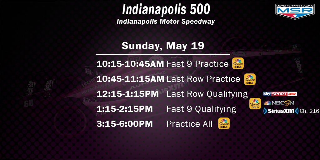 PR - Qualifying Day 2 and Practice coming up today. 📺 NBCSN / Sky Sports F1 📻 @IndyCarRadio on SiriusXM Ch. 216 📲 NBCSN Gold App #ThisIsMay | #INDYCAR | AutoNation | SiriusXM
