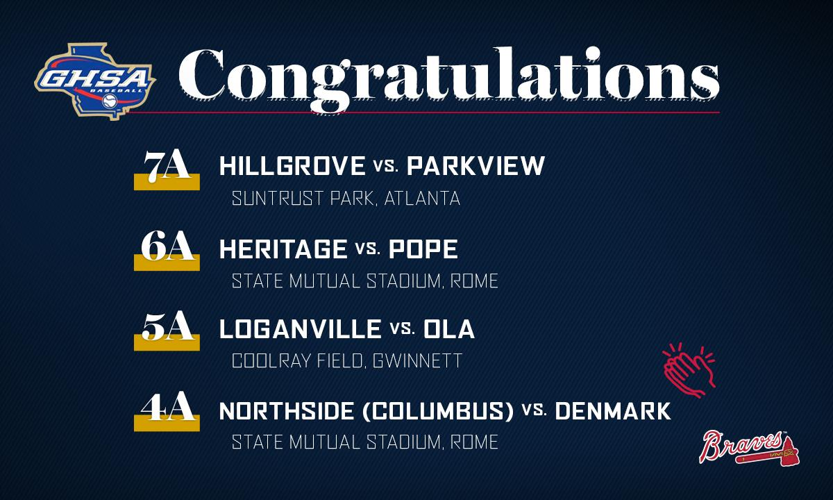 The @Braves are thrilled to host the @OfficialGHSA 7A State Championship games between @PVBaseballGA & @hghawksbaseball at @SunTrustPark on Monday! Details & tickets: https://atmlb.com/2QdWwcN