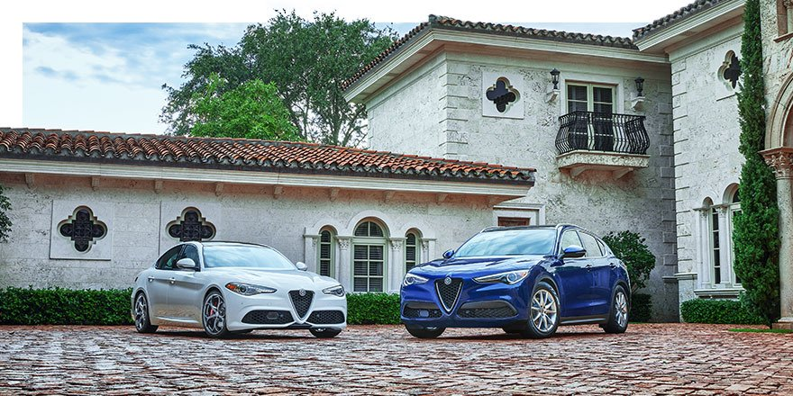 The V-Scudetto grilles are unmistakable. The Giulia and Stelvio are unforgettable.