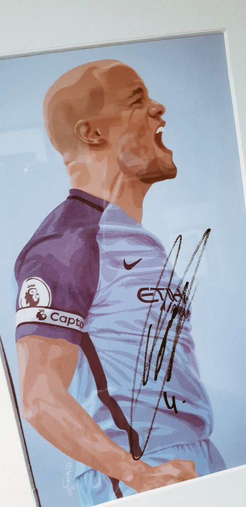 My illustration of Vinny. Another drawing to come of that fabulous goal v Brighton. What a way to sign out from your club. What a goal. What a captain. What a player. True legend. Thank you @VincentKompany for playing for @ManCity Heres to you Vincent Kompany...🎶💙