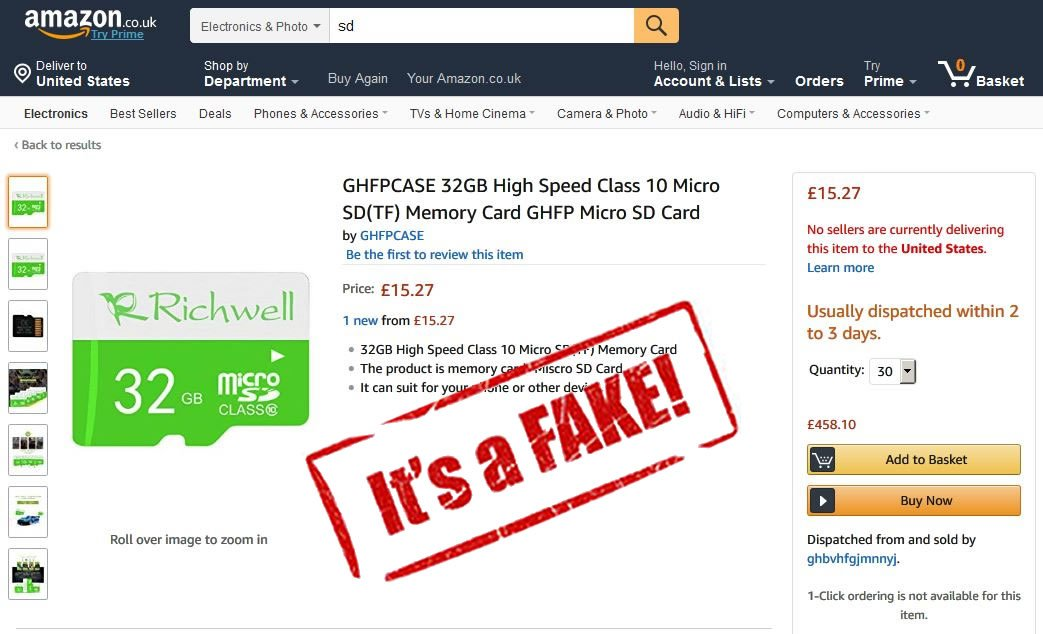 Buying computer memory on #Amazon is risky business. The product below is #counterfeit and may have malware or a virus. Amazon is a cesspool of scams, fakes, and fraud.   https://thecounterfeitreport.com/press_release_details.php?date=2017-11-14&id=709… …  …... @ABC @POTUS