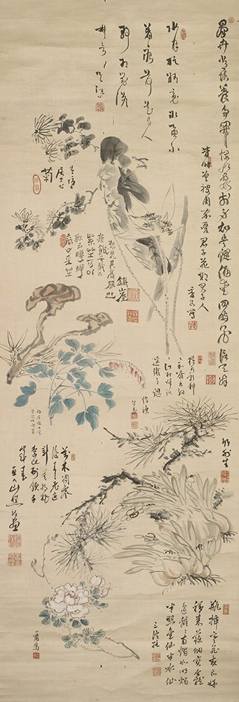 This artwork is a collaborative piece by a group of literati artists and calligraphers. Literati enjoyed getting together to paint or write over a drink of sake, and the works were valued more for their confirmations of friendship than for their aesthetic qualities #FriendsMW