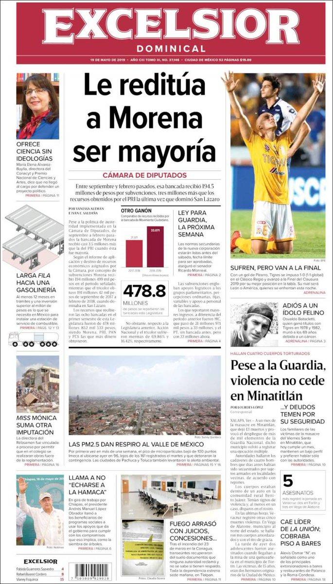 #Portadas #Nacionales // #Excelsior // #Milenio // #ElSolDeMéxico (2/2) 19/05/19