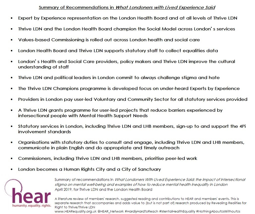 This #MentalHealthAwarenessWeek Get yr FREE copy of #WhatLondonersWithLivedExperienceSaid Practical recommendations for #VCS #Statutory #EbE 2 work together 4 #MentalHealthEquality #Intersectionality #Stigma #MentalHealth #HardlyHardToReach #ExpertsByExperience mhairi@reap.org.uk