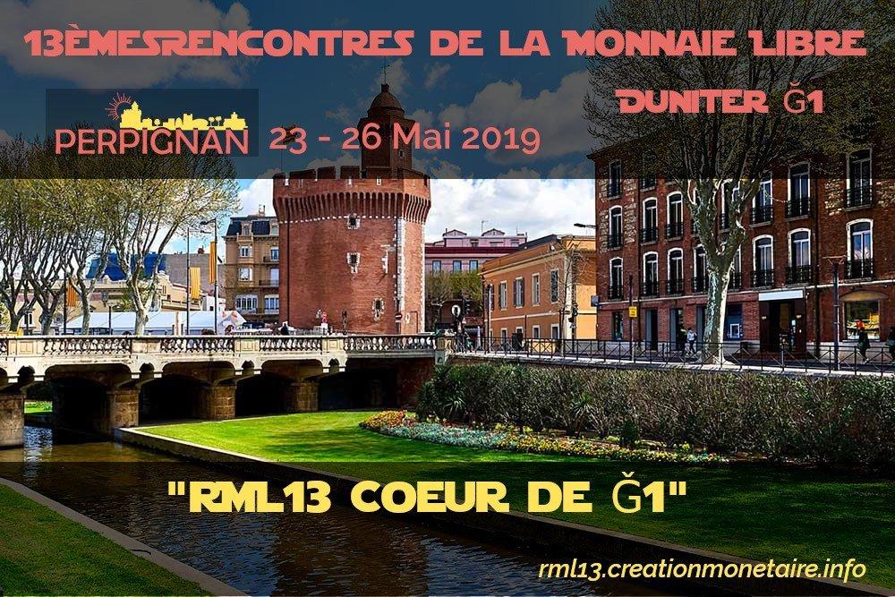 """RML13 """"Coeur de Ğ1"""" à #Perpignan du 23 au 27 Mai, pour les informaticiens qui veulent participer à la #blockchain #duniter #Ğ1 #monnaielibre #revenudebase http://rml13.creationmonetaire.info"""