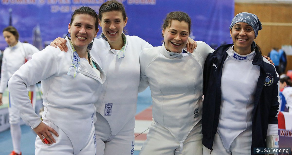💪💪💪 = the weekend for @USAFencing.  Our top-ranked women's epee team picked up second place today at the latest world cup stop in Dubai! http://go.teamusa.org/2VOMO6X