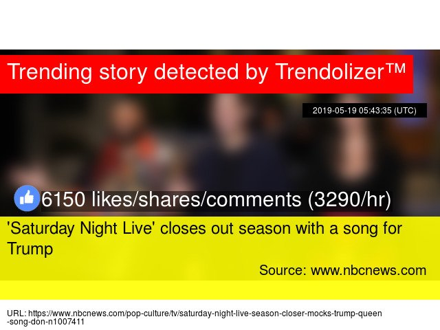 'Saturday Night Live' closes out season with a song for Trump #WhiteHouse #SarahSanders #presssecretary http://www.trendolizer.com/2019/05/saturday-night-live-closes-out-season-with-a-song-for-trump.html …