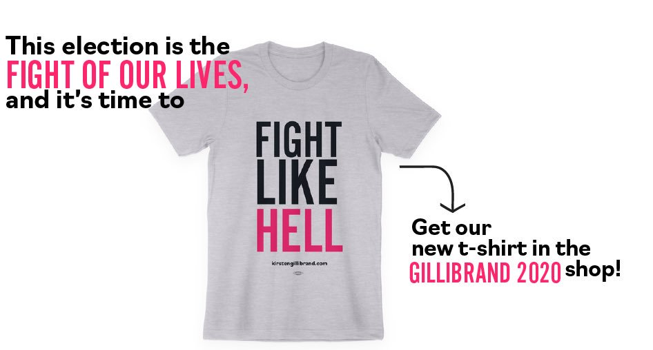 It's sure been a week—but we're not backing down. Get your brand-new shirt and let's keep fighting: https://store.kirstengillibrand.com/collections/all-items/products/fight-like-hell-unisex-tee…