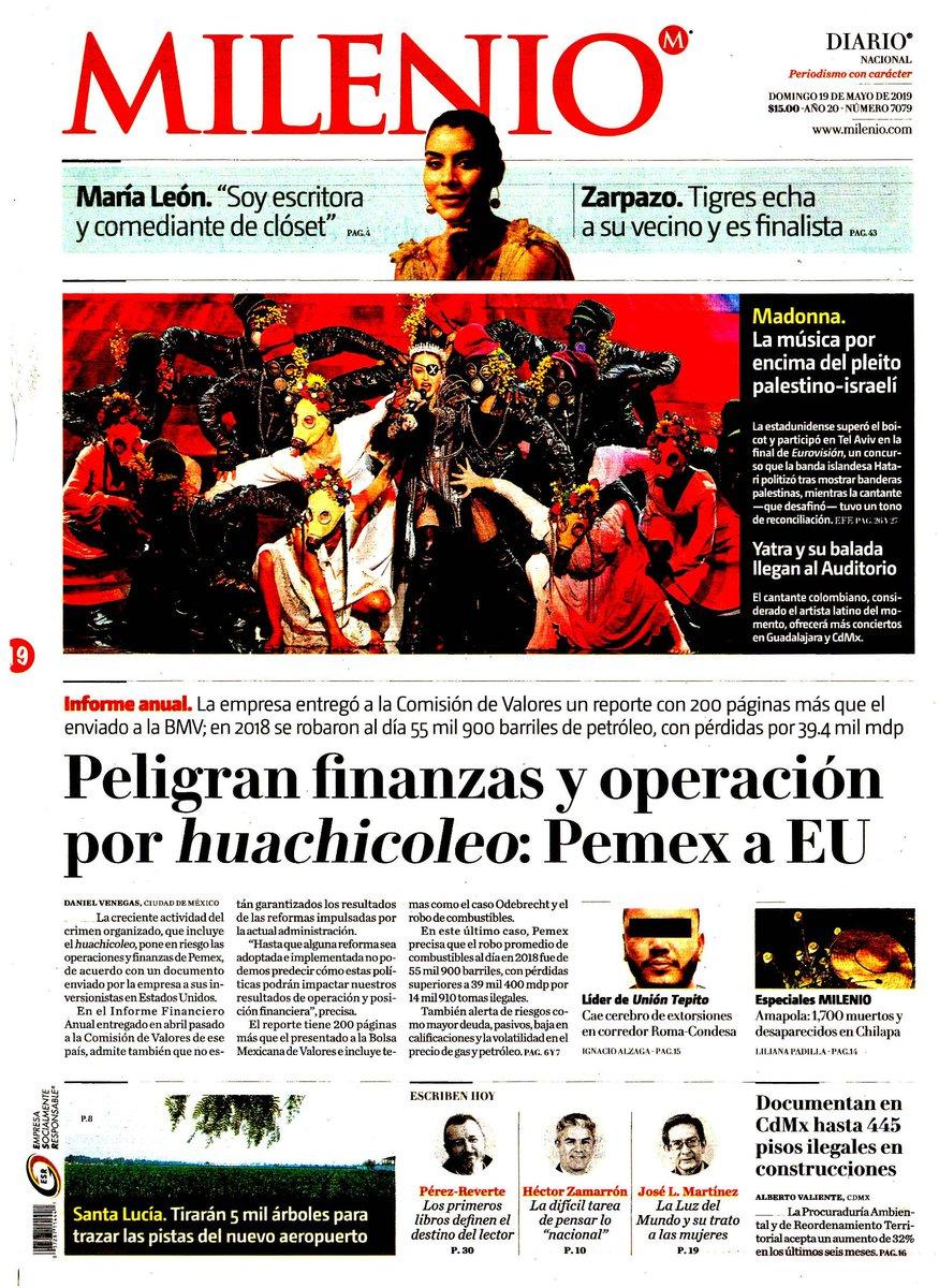 #Las8Columnas #Milenio: Peligran finanzas y operación por huachicoleo: Pemex a EU