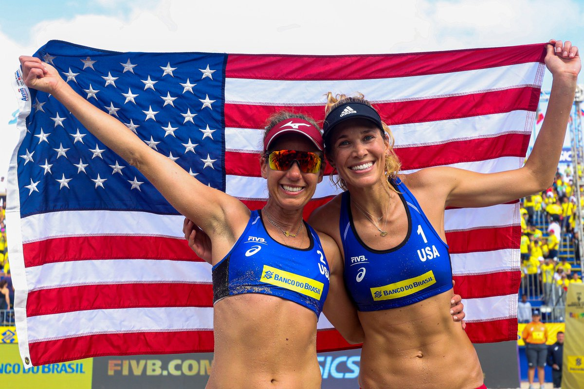 🌟🌟🌟🌟 MOOD for #TeamUSA's dynamic duo of @AprilRossBeach + @alixklineman.   @FIVBVolleyball four-star tournament champions defeated Canada in a 3-set thriller earlier today from Itapema, Brazil. http://go.teamusa.org/2VPbSKS