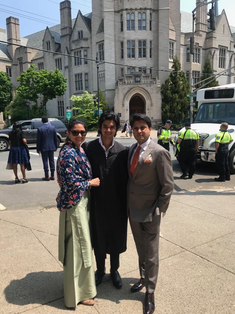 I feel extremely proud as a father today that my son @AScindia graduates from @Yale University. A special moment for the entire family.  Proud to be by your side as you graduate, son!  #yalecollege #classof2019