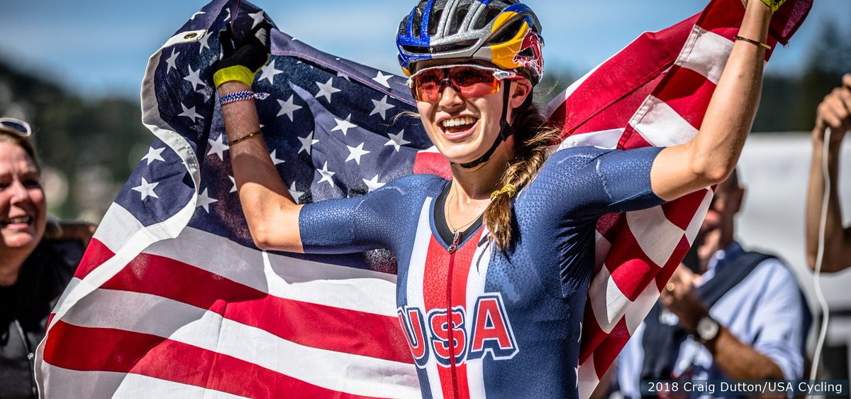 FIRST career @UCI_cycling elite cross-country world cup gold medal‼️  Have a Sunday, @usacycling's Kate Courtney.  Details: http://go.teamusa.org/2HFI7SO