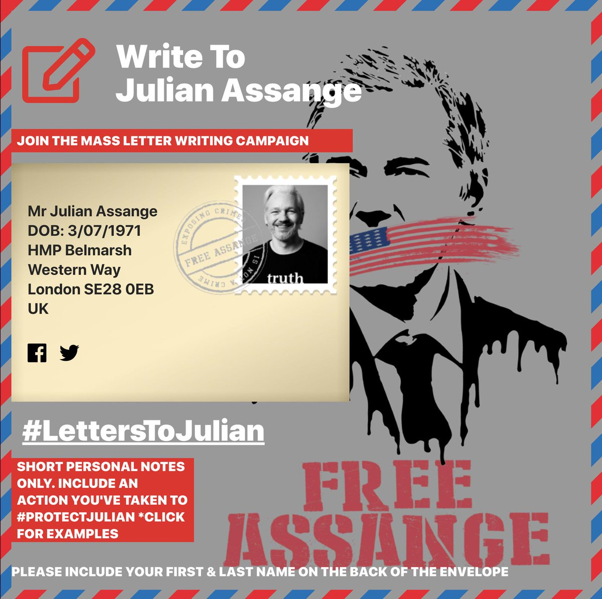 Supporters, Artists, and photographers - you may send paper items to Julian Assange including letters, paper drawings and photos. Share your artwork with #WikiLeaksArt and share letters with #LettersToJulian @wikileaks See https://t.co/jO5sqooHz5