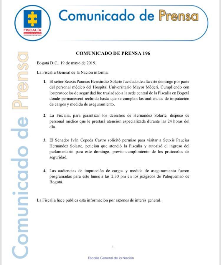 #ATENCIÓN Comunicado de prensa 196