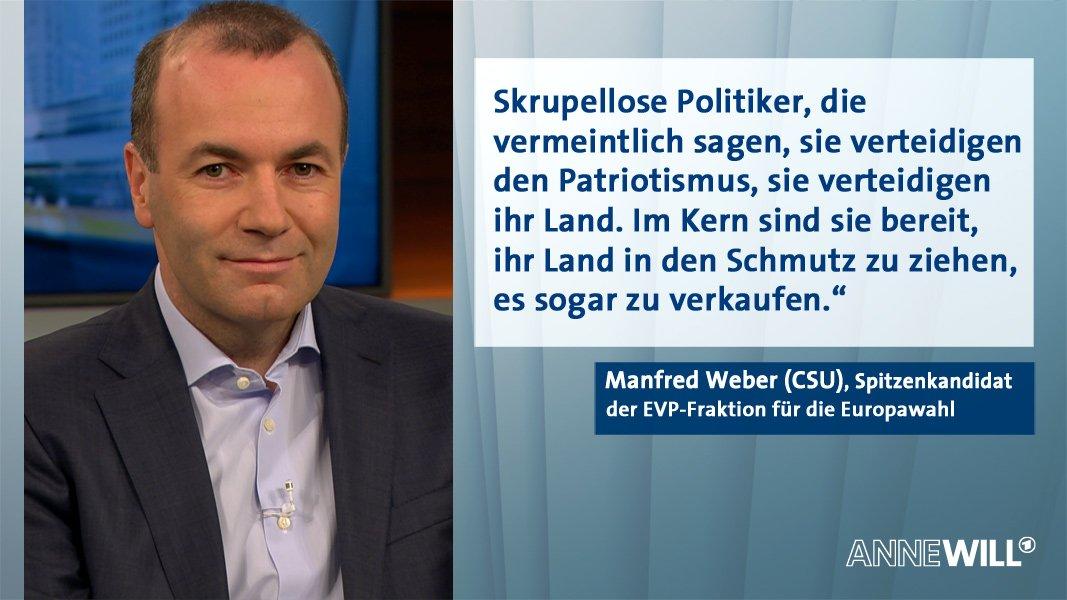 .@ManfredWeber spricht bei #AnneWill von einem widerlichen Verhalten, das man in dem #Strachevideo gesehen habe. #Strache #FPÖ