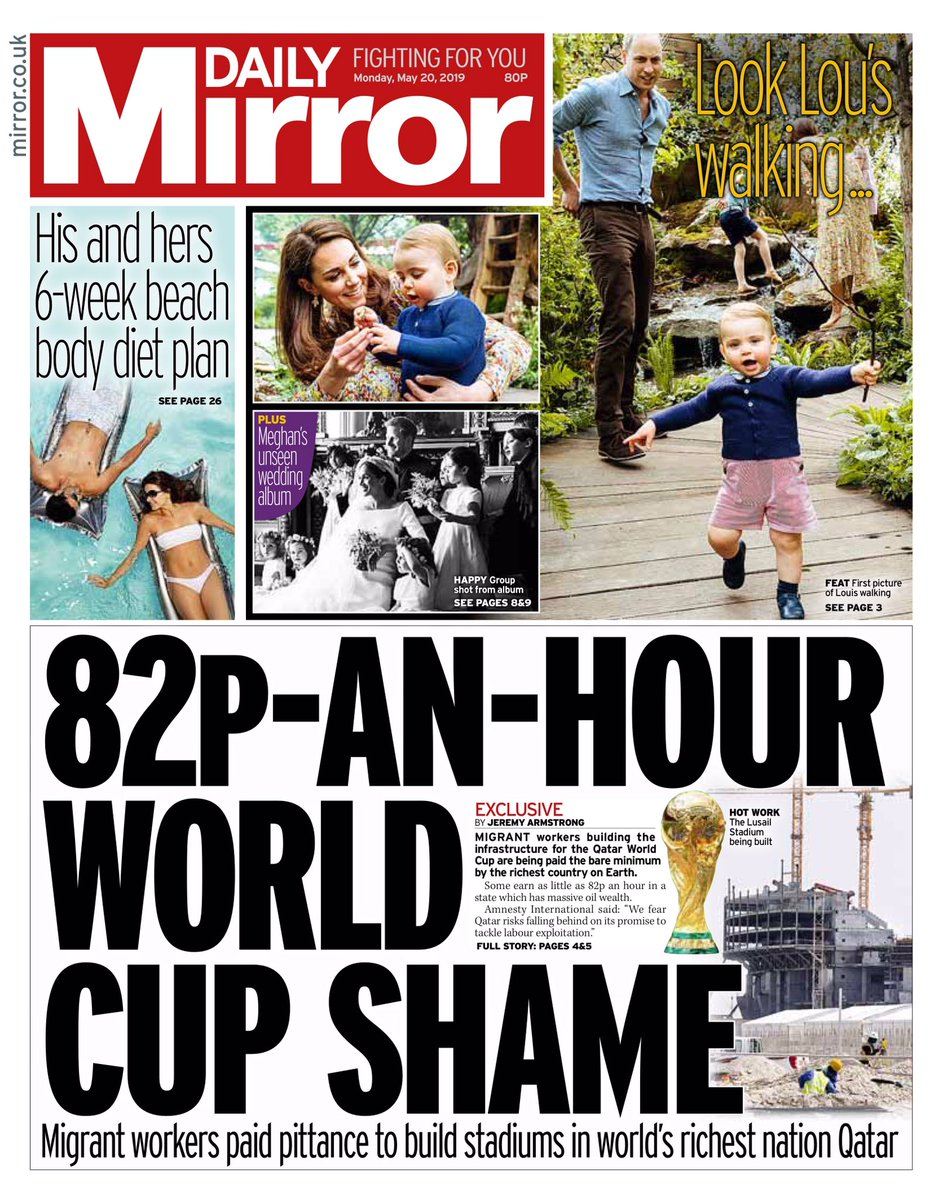 Monday's MIRROR: 82p-an-hour Workd Cup shame #tomorrowspaperstoday