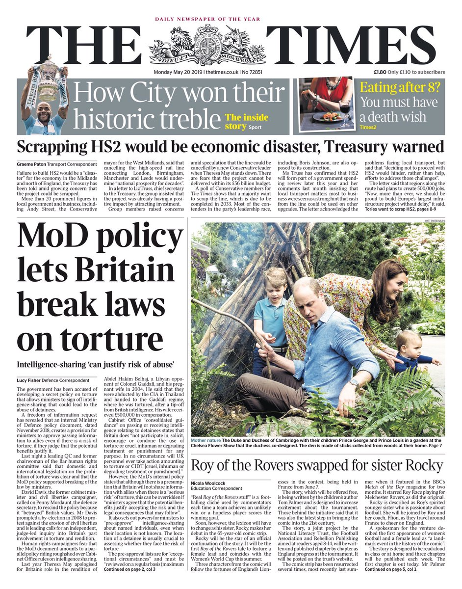 Monday's TIMES: MoD policy lets Britain break laws on torture #tomorrowspaperstoday