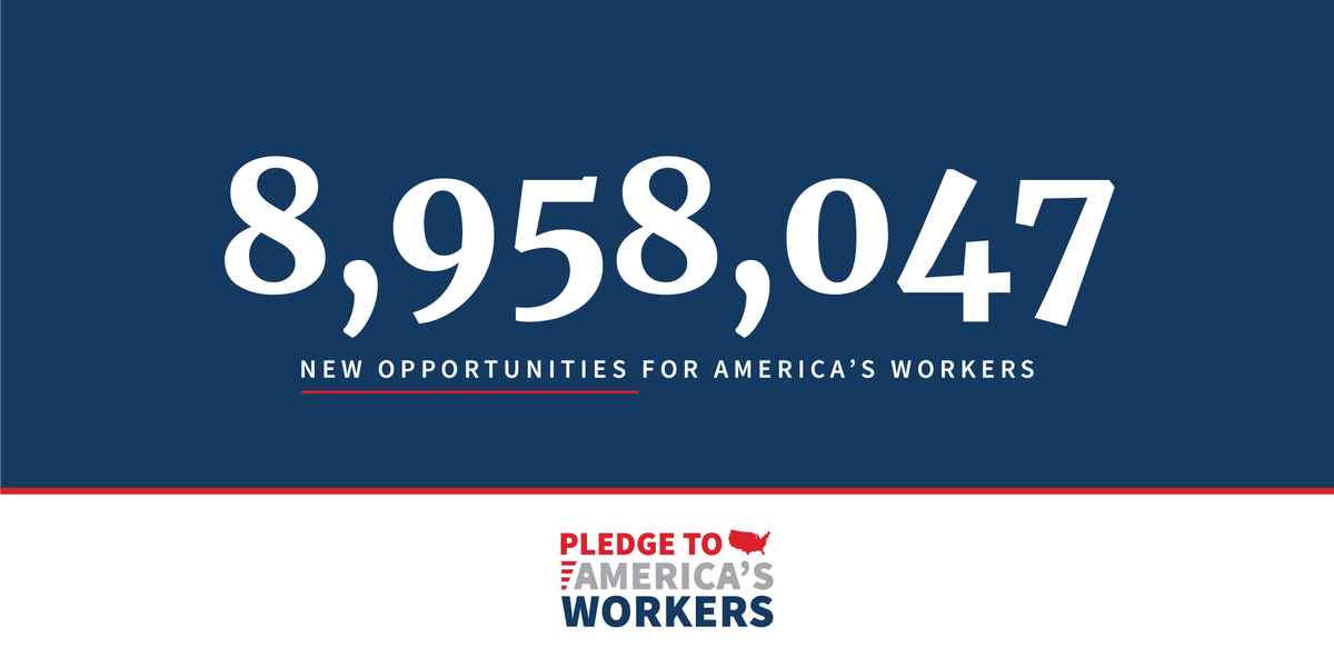 With the latest commitment from @salesforce to provide software training for 1 million people, the Pledge to Americas Workers has hit a total of 8,958,047 workforce development opportunities since its launch last July! Learn more: 45.wh.gov/J69dDh