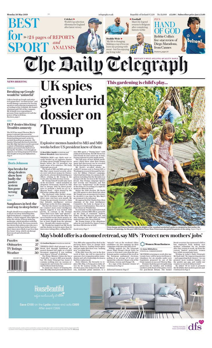 Monday's TELEGRAPH: UK spies given lurid dossier on Trump #tomorrowspaperstoday