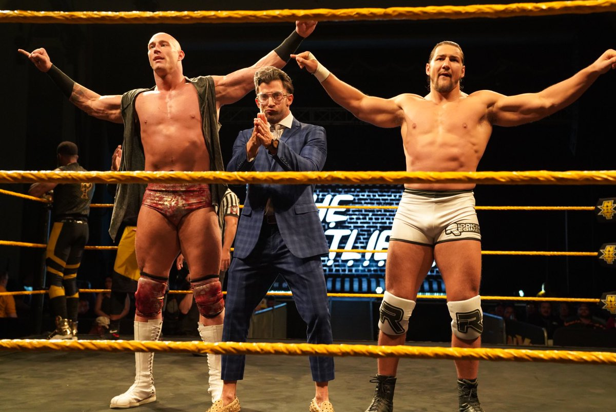 .@RobertStrauss returned home to #NXTAsburyPark with two absolute units in @TheDanMatha and @riddickMoss. #TheOutliers