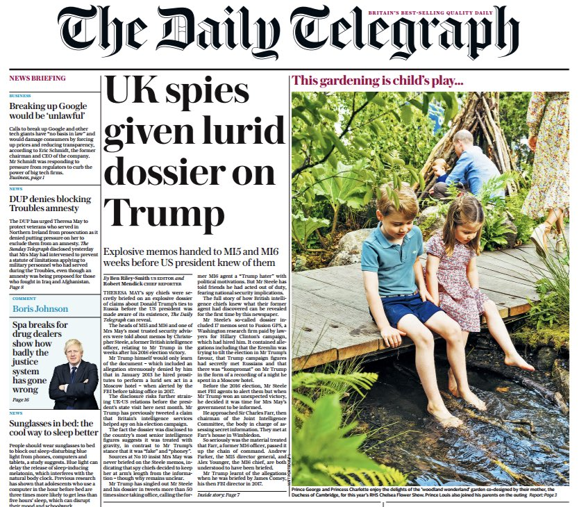 **Exclusive**  British spy chiefs were briefed on Christopher Steele's dossier before Donald Trump knew of its existence.   Heads of MI5, MI6 + one of Theresa May's most trusted security advisers all knew of the Russian links claims before Trump.  Summary thread below...