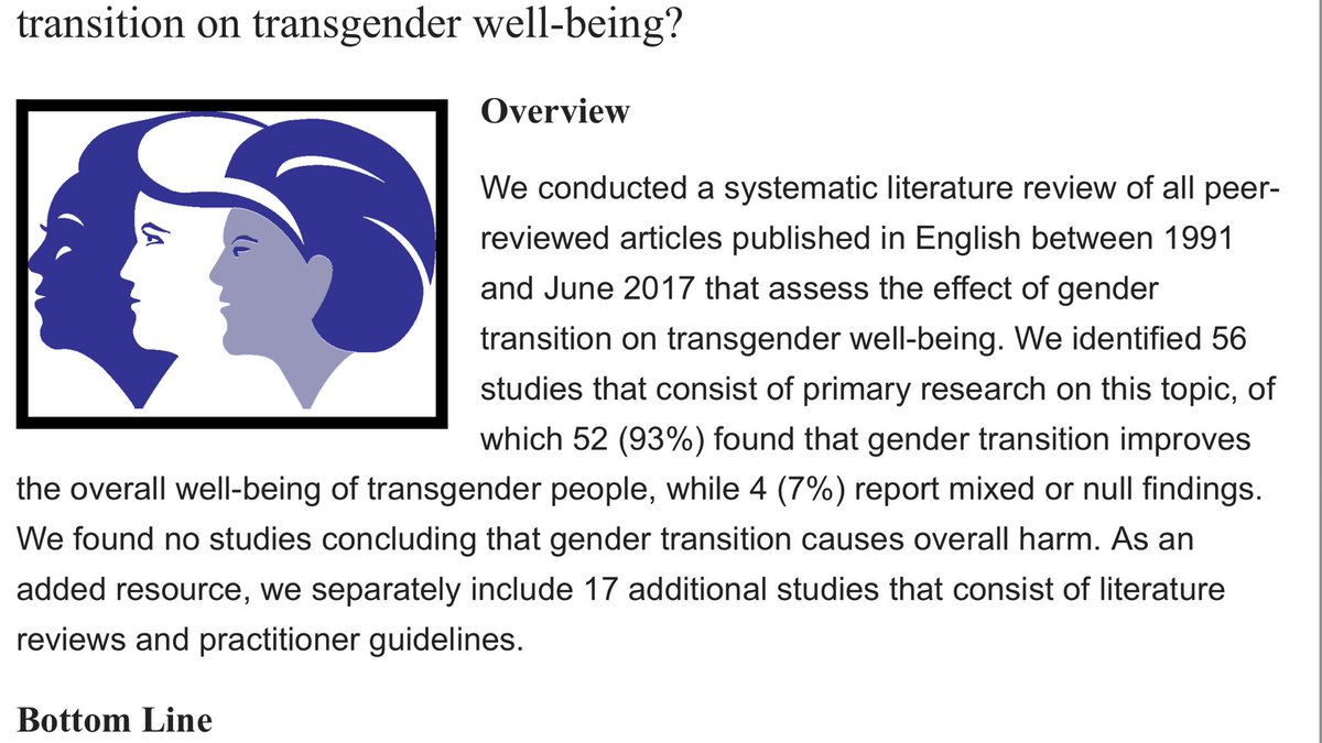 These are their major findings.   Just to note - NONE of the studies they reviewed concluded that transition causes overall harm btw.