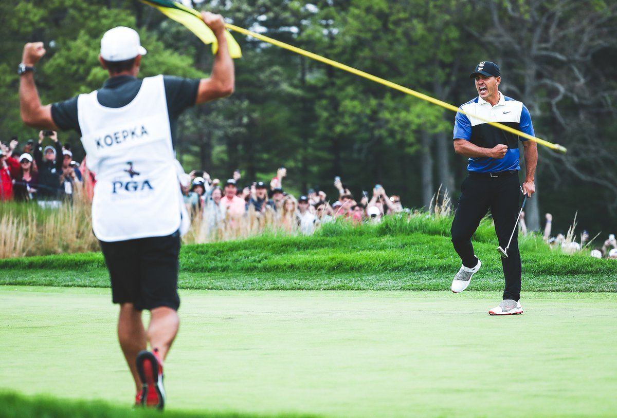 Watch out, world. @BKoepka has arrived.  ▪️ First wire-to-wire @PGAChampionship winner since 1983 ▪️ 4⃣th career Major Title in eight starts ▪️ Joins Tiger Woods as the ONLY golfers to win consecutive #PGAChamp