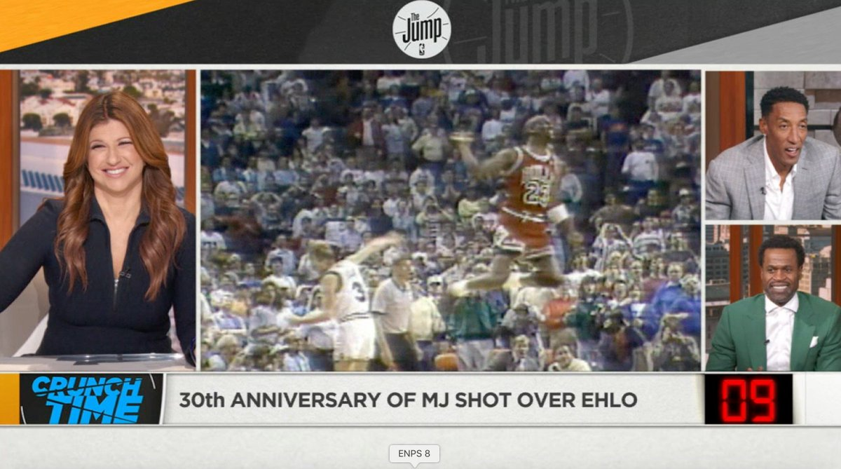 """Sorry to bring this up Cleveland fans, but today is the 30th anniversary of The Shot, Jordan over Ehlo. @ScottiePippen talks about that moment - """"we were not supposed to win that series"""" - and how it launched the era of the Bulls dynasty."""