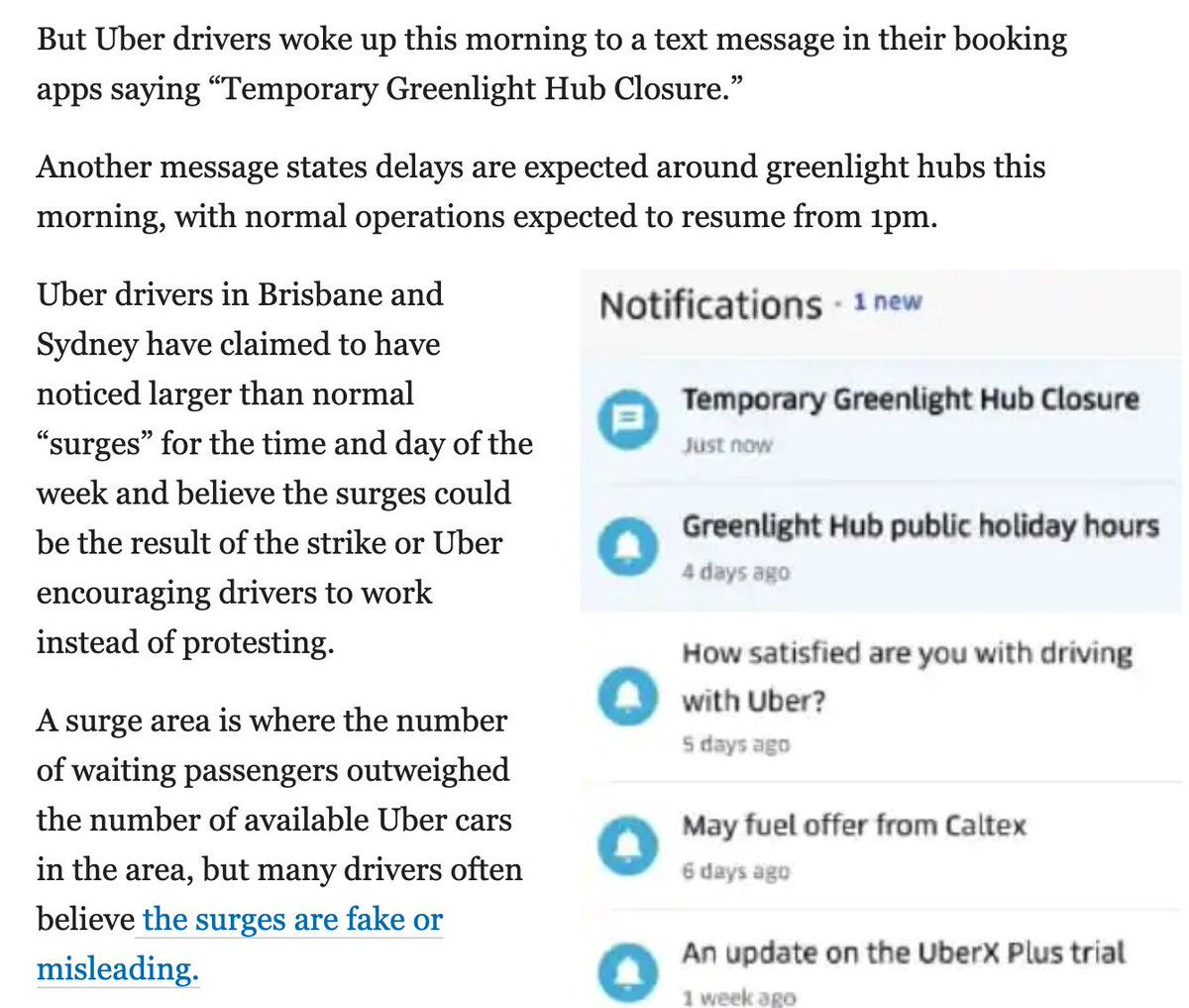 uber drivers protest fake surge prices